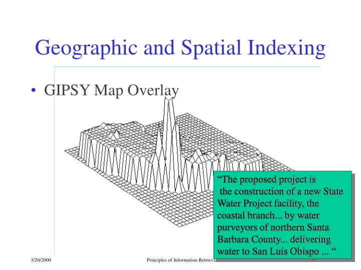 Geographic and Spatial Indexing