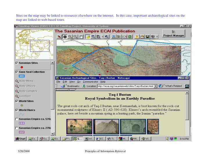 Sites on the map may be linked to resources elsewhere on the internet.  In this case, important archaeological sites on the map are linked to web-based tours.
