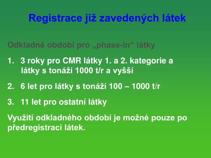 Registrace již zavedených látek