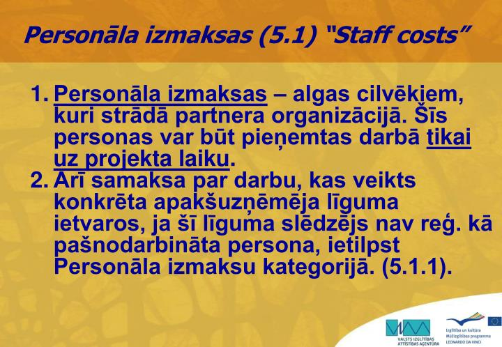 """Personāla izmaksas (5.1) """"Staff costs"""""""