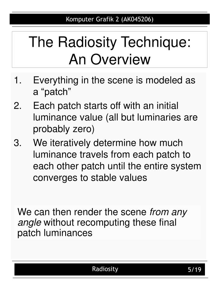 The Radiosity Technique: