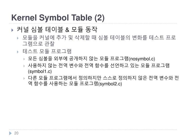 Kernel Symbol Table