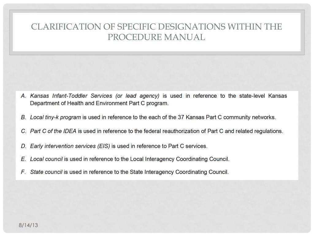 PPT - Kansas idea part c procedure manual training august 14