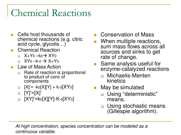 Cells host thousands of chemical reactions (e.g. citric acid cycle, glycolis…)