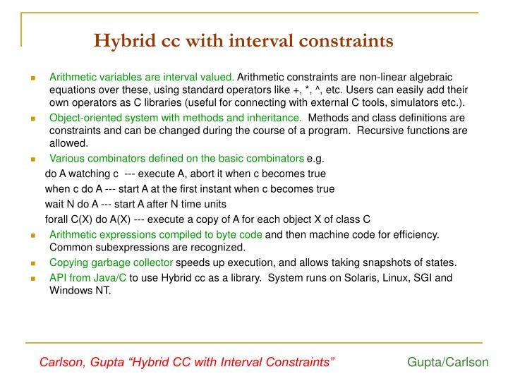 Hybrid cc with interval constraints