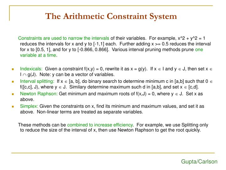 The Arithmetic Constraint System