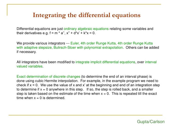 Integrating the differential equations