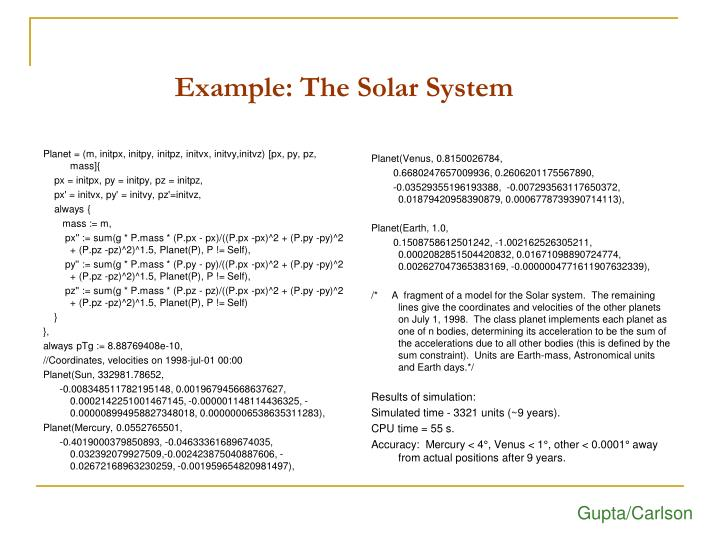 Example: The Solar System