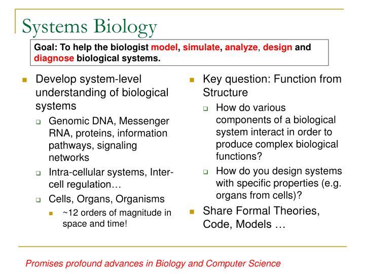 Develop system-level understanding of biological systems