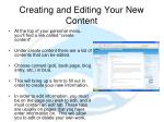 creating and editing your new content
