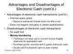 advantages and disadvantages of electronic cash cont d1