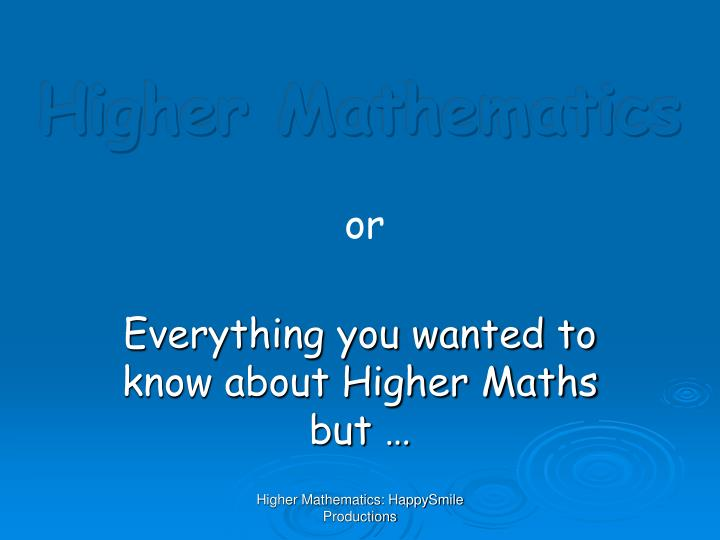 higher mathematics n.