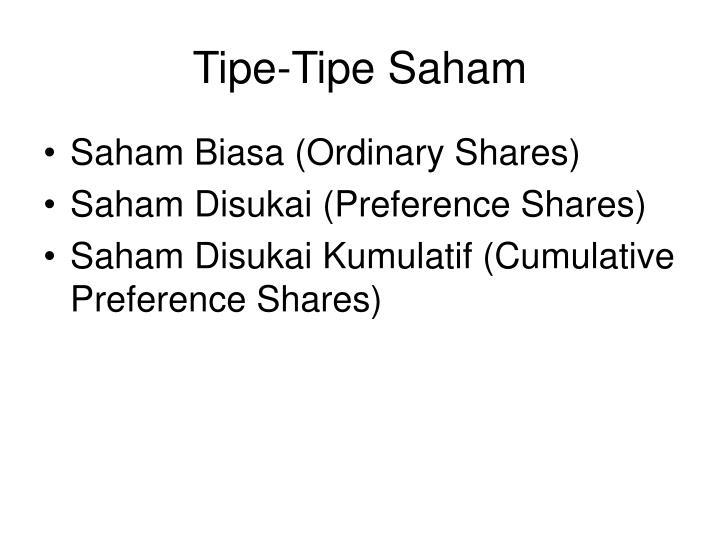 Tipe-Tipe Saham