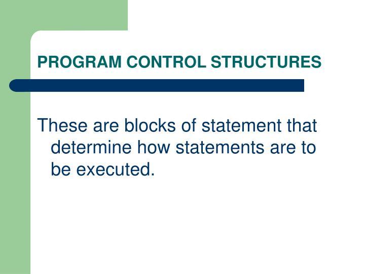 PROGRAM CONTROL STRUCTURES