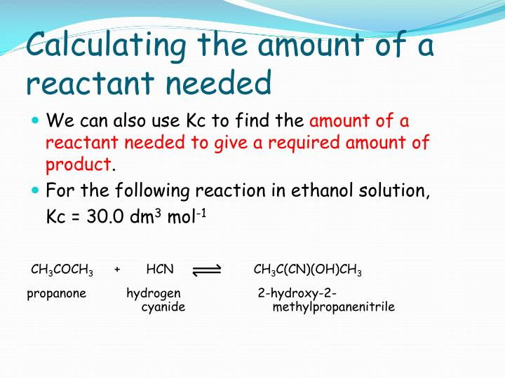 Calculating the amount of a reactant needed