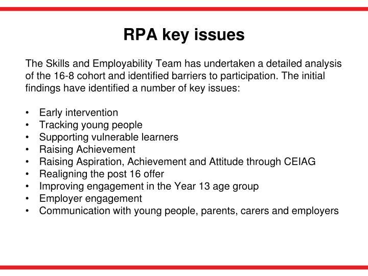 RPA key issues