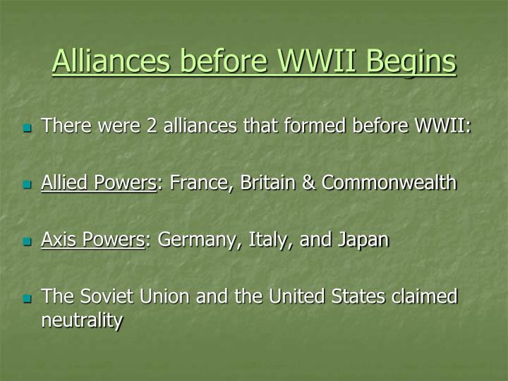 Alliances before WWII Begins