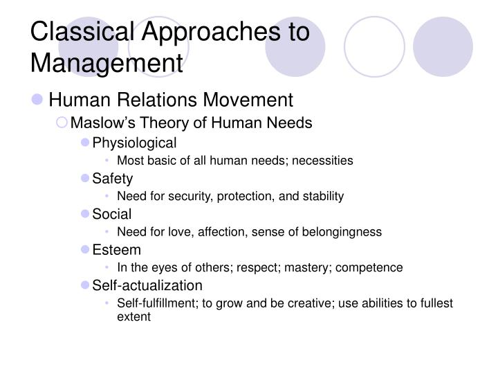 human relations vs classical approach to The human relations approach says a happy worker is an efficient worker that means if an organization can keep its workforce happy, it would bring more prodctivity and more profit because if a worker is happy with the emoluments and all the benefits that he deserves and the organization.