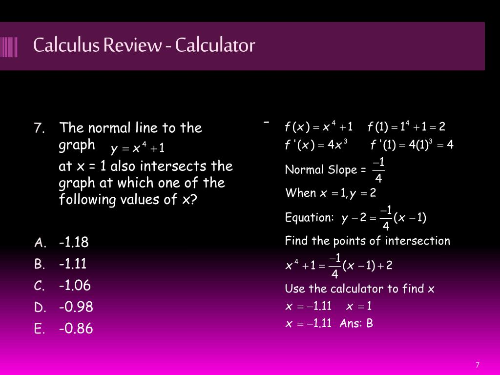 PPT - Calculus Review - Calculator PowerPoint Presentation - ID:5084355