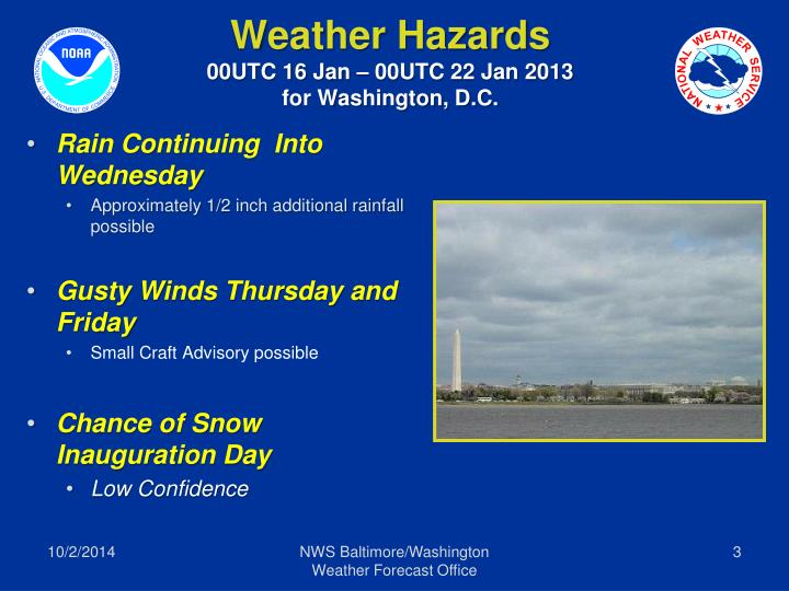 Weather hazards 00utc 16 jan 00utc 22 jan 2013 for washington d c