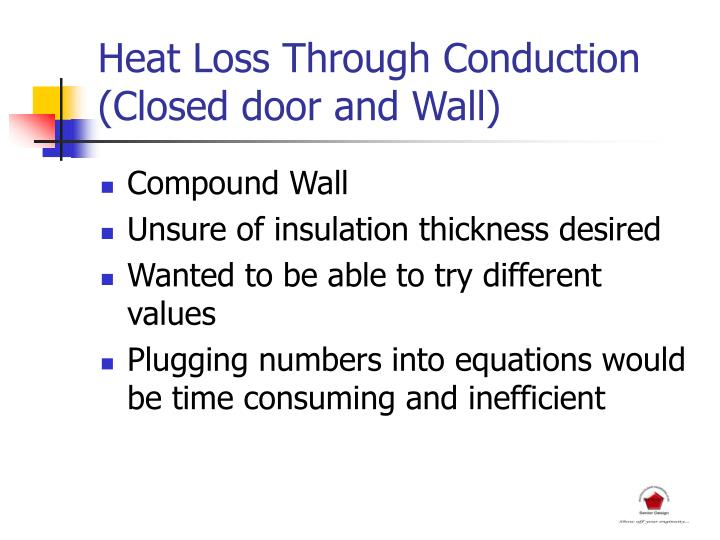 Heat Loss Through Conduction (Closed door and Wall)
