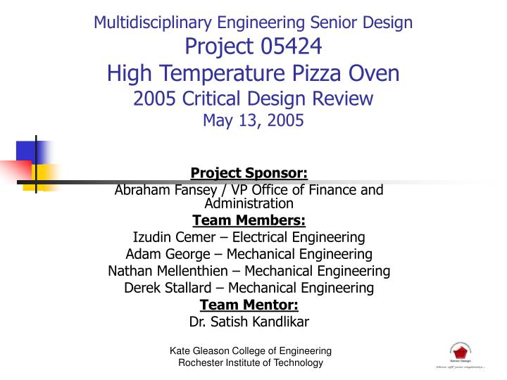 Multidisciplinary Engineering Senior Design