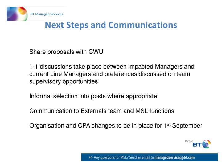 Next Steps and Communications