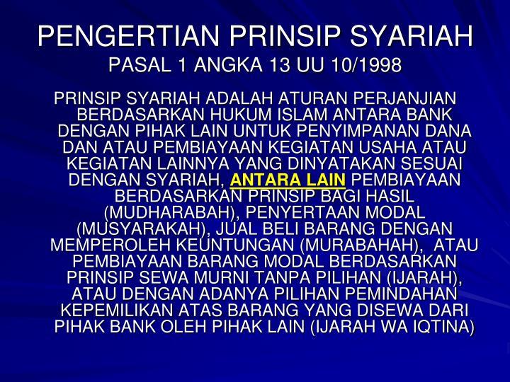 PENGERTIAN PRINSIP SYARIAH