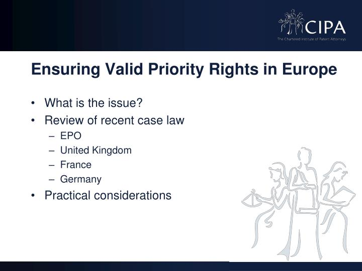 Ensuring valid priority rights in europe1