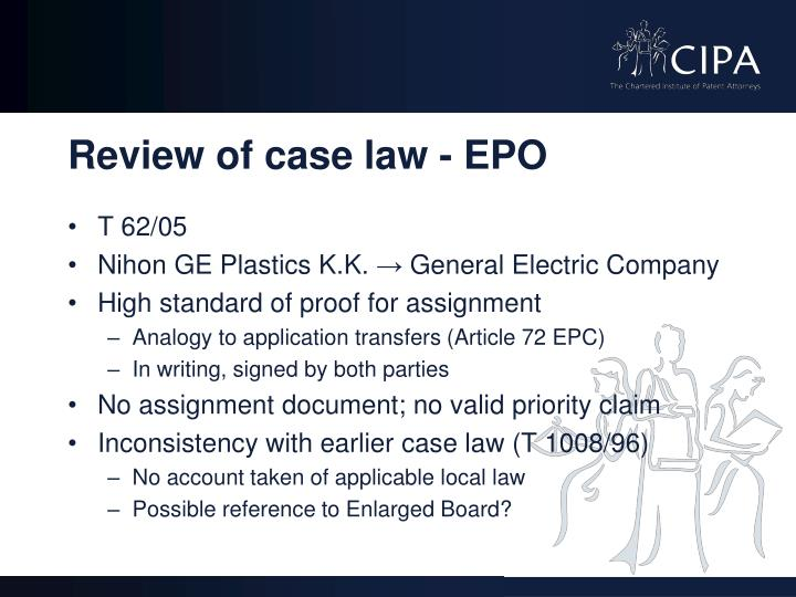 Review of case law - EPO