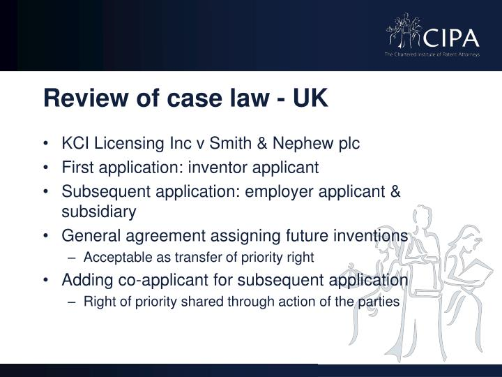 Review of case law - UK