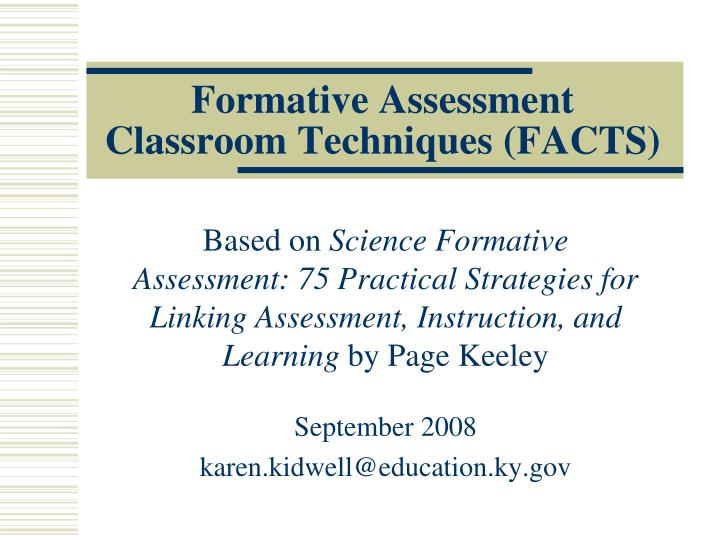 formative assessment classroom techniques facts n.