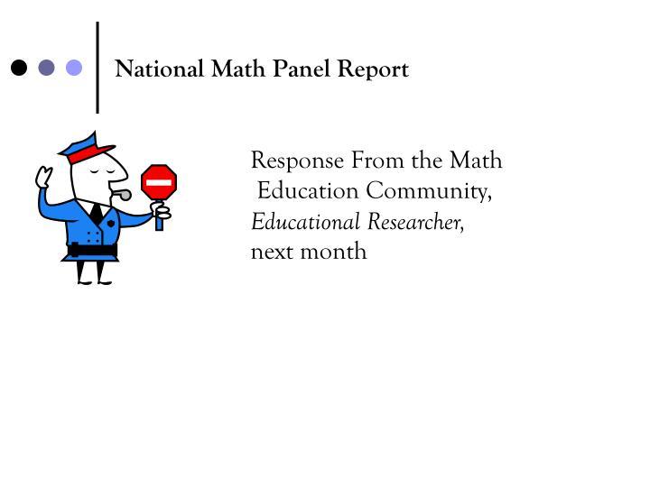 National Math Panel Report