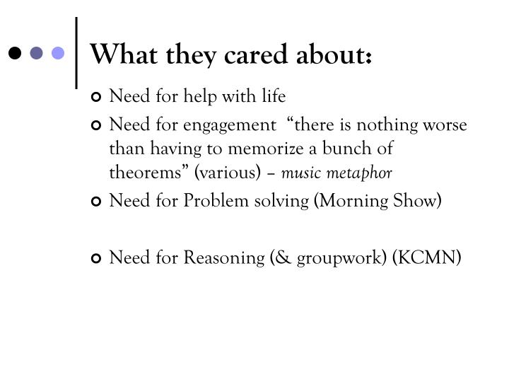 What they cared about: