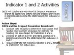 indicator 1 and 2 activities