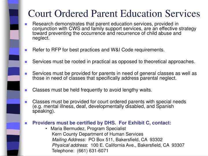 Court Ordered Parent Education Services