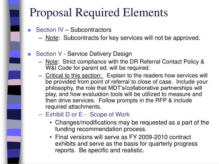 Proposal Required Elements