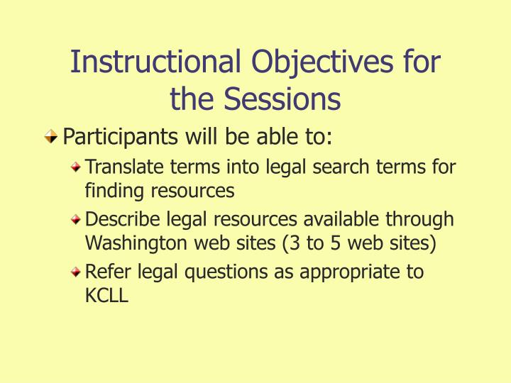 Instructional Objectives for the Sessions