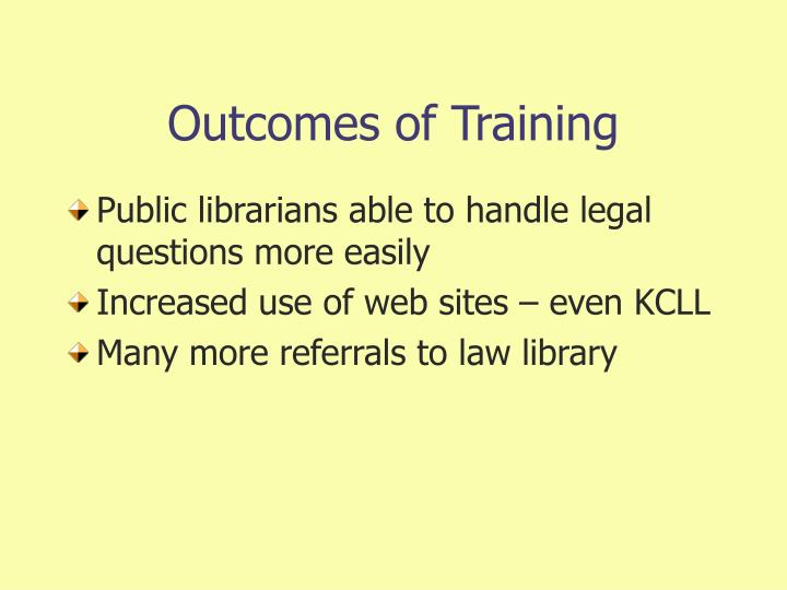 Outcomes of Training