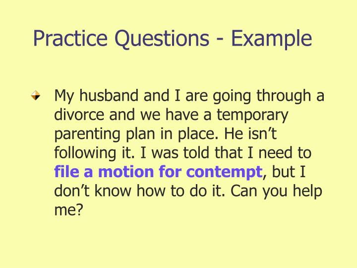 Practice Questions - Example