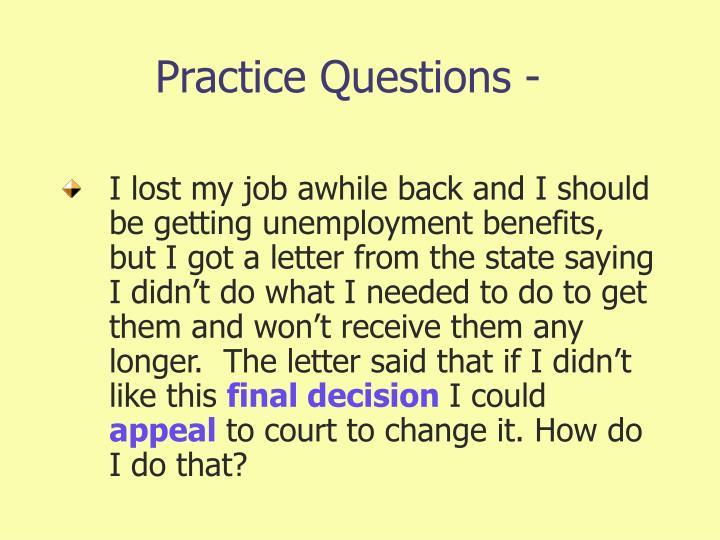 Practice Questions -