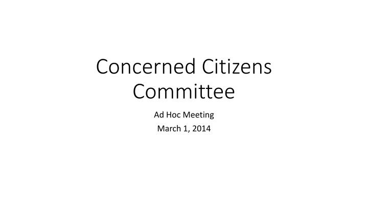 concerned citizens committee n.