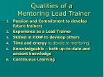 qualities of a mentoring lead trainer