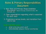 roles primary responsibilities document