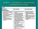 sample competency development assessment format