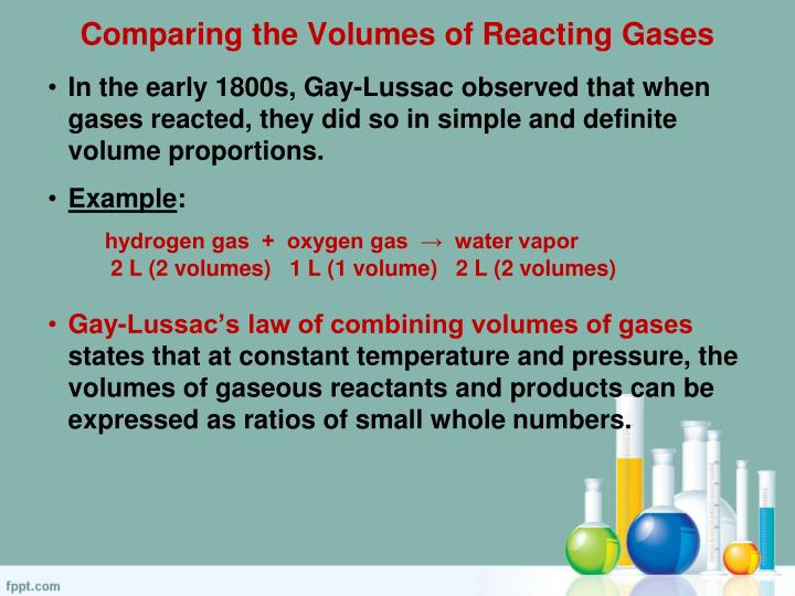 Comparing the volumes of reacting gases