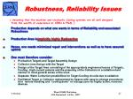 robustness reliability issues