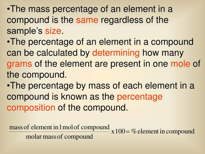 The mass percentage of an element in a compound is the