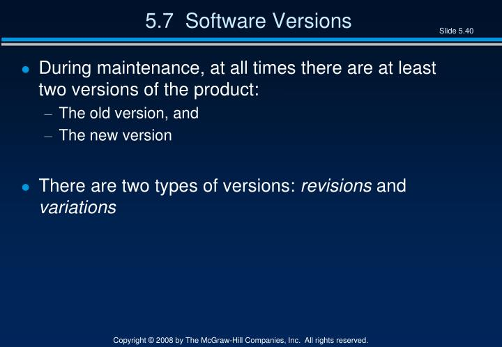 5.7  Software Versions