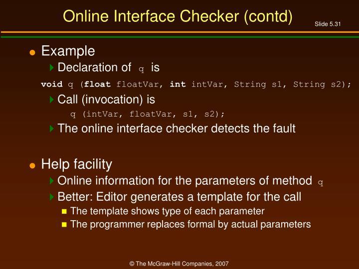 Online Interface Checker (contd)